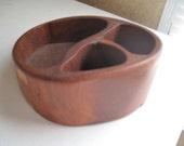 Wood Desk Organizer, Handmade Wood divided bowl, teak, Unique bowl, carved bowl