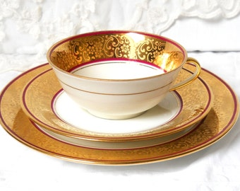 vintage french teacup tea cup trio french porcelain tea cups gold teacup french teacup trio Limoges teacup trio  864