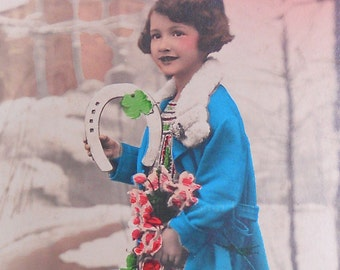 vintage french postcard Happy New Year antique French postcard vintage postcard photograph postcards handtinted happy new year child girl