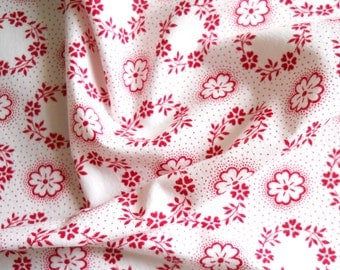 vintage fabric french fabric floral antique fabric patchwork quilting red flowers cotton fabric 178