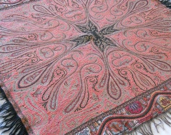 Vintage Dutch paisley wall hanging paisley shawl antique throw tablecloth home decoration antique fabric