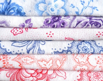 6 pieces of vintage floral fabric patchwork fabric quilting fabric french fabric french floral fabric bundle