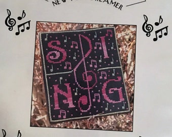Sing, Cross Stitch Chart by New York Dreamer, Music, Treble Clef, Singer