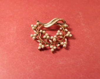 Coro Gold Tone Brooch with White Enamel Paint and White Milk Glass Beads - Vintage
