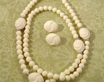 Avon Carved Accent Necklace and Clip Earrings with magnificent look of carved ivory - Vintage 1988