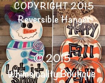 Reversible Snowman, Pumpkin Stack door hanger