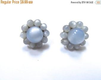 On Sale Vintage Baby Blue Moon Beam Lucite Earrings Item K # 514