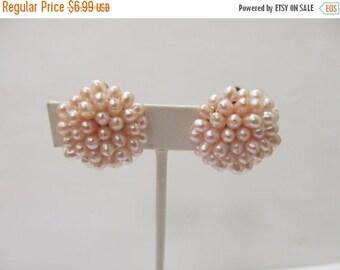 On Sale Vintage Pink Faux Pearl Cluster Earrings Item K # 2325