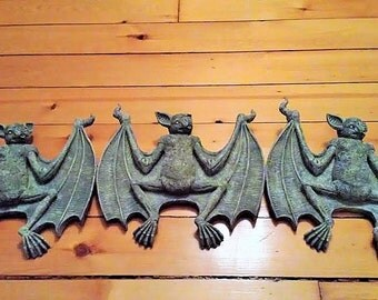 Set of 3 Macabre Bat Wall Hangings Toscano Design