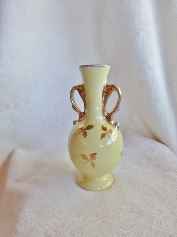 Items Similar To Lovely Pale Yellow Ceramic Vase With 22k Gold Handles And Leaf Designs On Etsy