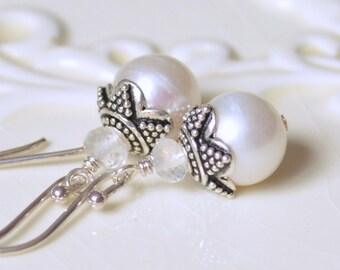 Pearl Bridal Earrings, Sterling Silver, Rainbow Moonstone Gemstone, Wedding Jewelry - Elegance - Free Shipping