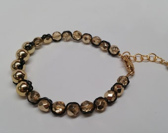 Gold and Black Waves Bracelet - Elasticity Chain, Czech Glass, Fall, Autumn, Chic, Ribbon Effect, Ruffle