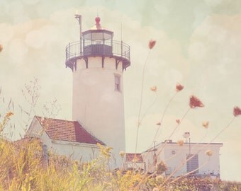 Lighthouse Print, Eastern Point Lighthouse, Whimsical, Dreamy, Bokeh, New England, Photograph, Cape Ann
