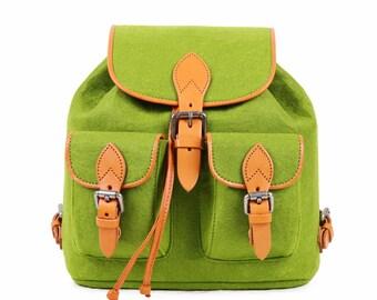 Backpack Wool Felt Backpack Daily Bag School Bag--Tophome