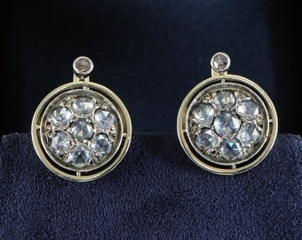 Magnificent rare Victorian 2.90 Ct rose cut diamond earrings