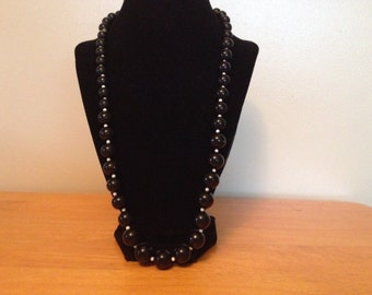 Vintage Black and White Plastic Beaded Necklace, Length 24''