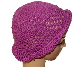 Cotton Hat, Purple Cloche, Crochet Womens Hat, Rolled Brim Hat, Summer Fashion Hat, Cloche Hat, Lace Beret, Orchid Cloche, Summer Beanie