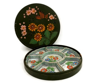 Japanese Porcelain Serving Set in Hand Painted Lacquer Box