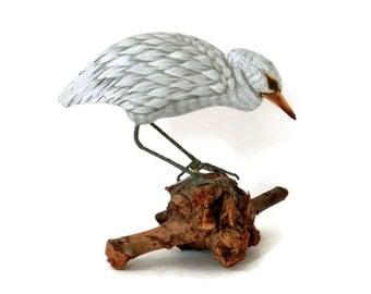 Hand Carved Egret or Heron Decoy on Natural Driftwood Base