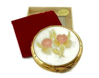 MIB Retro Compact Powder Case with Daffodils Pink Lady Made in Japan