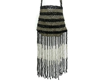 Black & Silver Beaded Flapper Bag with Long Beaded Fringe Vintage Art Deco Purse
