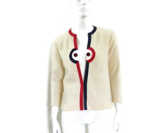 Space Age Mod Cream Angora Cardigan Sweater for Gimbels