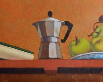 Large Trompe L'Oeil With Coffee Pot and Apples