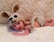 Kangaroo Costume, Crochet Kangaroo Costume, Diaper Cover, Leg Warmer, Halloween Costume, Newborn Kangaroo Costume, Infant Costume, Halloween