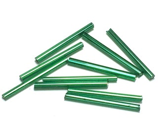 10 Emerald green glass tube beads