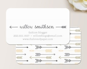 Arrows Business Card / Calling Card / Mommy Card / Contact Card - Arrow Business Card, Arrow Pattern Business Card, Rustic Business Card