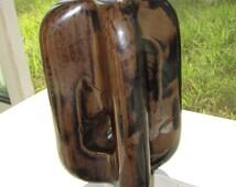 Insulator Porcelain Ceramic Mottled Brown Glazed Tall