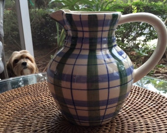 Vintage Blue & Green Plaid Pitcher