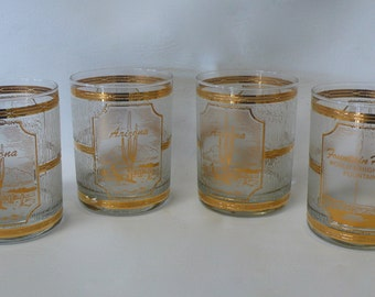 Set of Four Vintage Culver Gold Banded Waterfall Old Fashioned Glasses Arizona Fountain Hills Souvenir Rocks Glasses