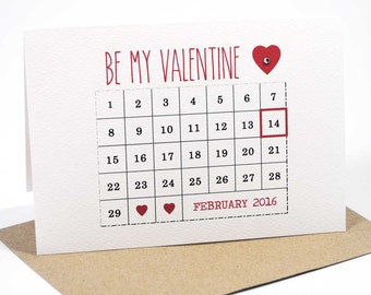 Valentine's Day Card - February Calendar 2016 - HVD005 - Love Card -  Happy Valentine's Day Card