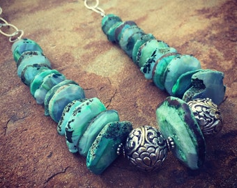 Graduated Agate and Sterling Silver Chain Statement Necklace