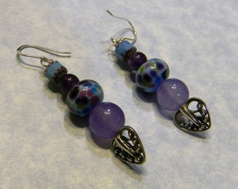 Shades of Blue, Purple and Fuchsia Art Glass, Gemstone and Cathedral Bead Drop Earrings