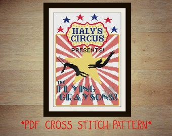 Haly's Circus Flying Graysons poster counted cross stitch PDF pattern