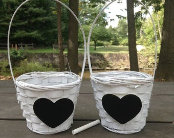 White Flower Girl Basket Wither Chalkboard Heart ready to Personalize