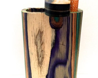 "Handmade  Wooden All Color Color 4"" Swift Box Dugout with  One Hitter Bat + Poker"