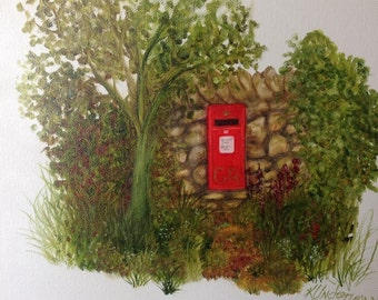 Cotswolds English post box oil painting