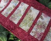 Batik burgundy quilted table runner