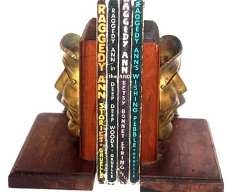 Vintage Comedy and Tragedy Brass and Wood Bookends, Home Office Decor, Carved Heads, Antique Alchemy