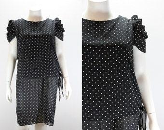 XXL Vintage Dress - Black and White Polka Dots