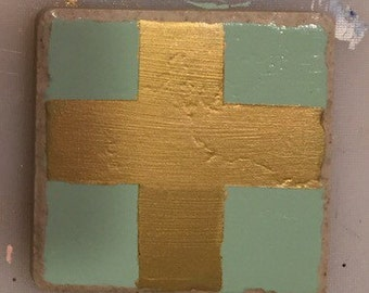 Hand painted tile coasters