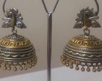 Beautiful Two Tone Jhumka,Embossed Work,Oxidized Earrings,Indian Jewelry, Dual tone jhumkas