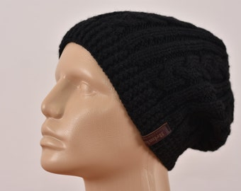 Mens Slouchy Beanie, Black Winter Hat.Hand Knit Chunky Beanie, Slouch Hat. Cable Knit Hat. Wool Hat, Beret Beanie Mens Accessories. For Him