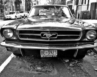 Old Mustang, Black & White vintage car photograph