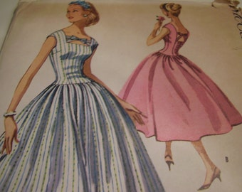 Vintage 1950's McCall's 4077 Dress Sewing Pattern, Size 16, Bust 36