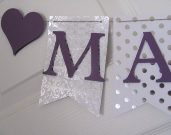 Bridal Shower Banner. Wedding Shower Banner, Silver and Purple Bridal Shower, Silver and Purple Bridal Shower Decorations,