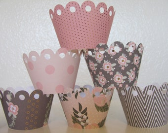 Cupcake wrappers, Pink and gray, Pink and Grey cupcake wrappers, Set of 12 wrappers, Baby Shower decorations, Birthday Party,